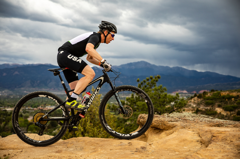 Mountain biking at Palmer Park, part of the course for the Pikes Peak APEX race