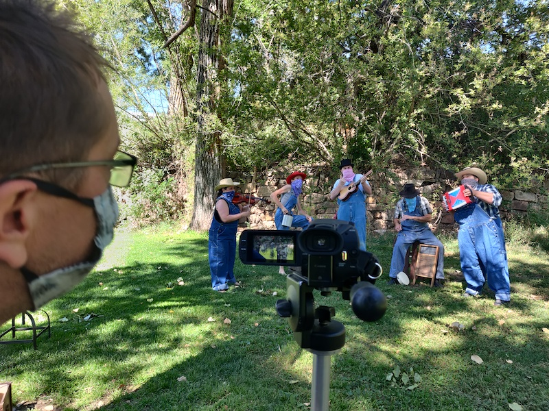 Filming companion video for the FAC audio play series Of Spacious Skies