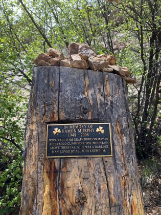 Memorial at the base of St. Mary's Falls.
