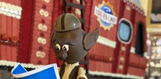 Chocolate elf at the Broadmoor gingerbread house