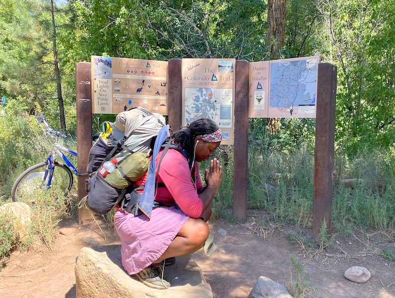 Patricia Cameron, aka Blackpacker, completes the Colorado Trail at its southern terminus in Durango