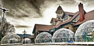 Outdoor dining igloos at the Old Depot, Colorado Springs