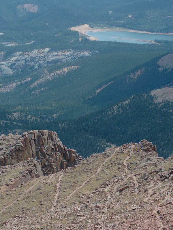 Looking down from Pikes Peak on Barr Trail, one of Colorado Springs best trails