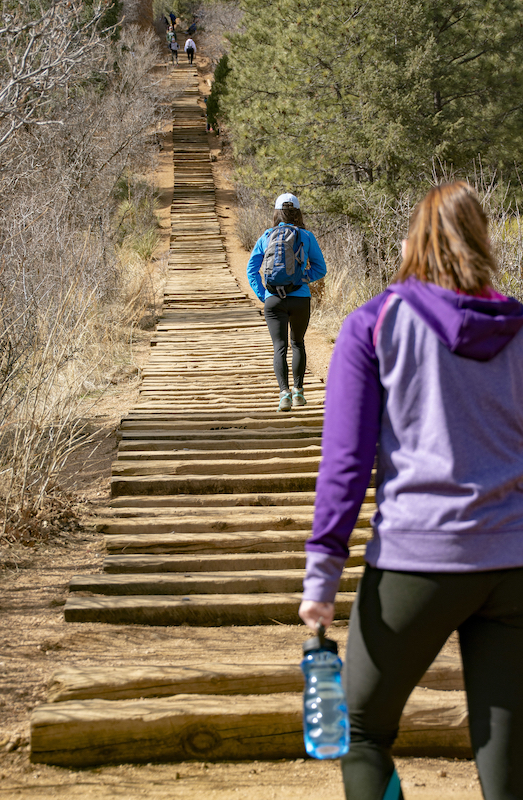 Looking up the Manitou Incline, one of Colorado Springs best trails