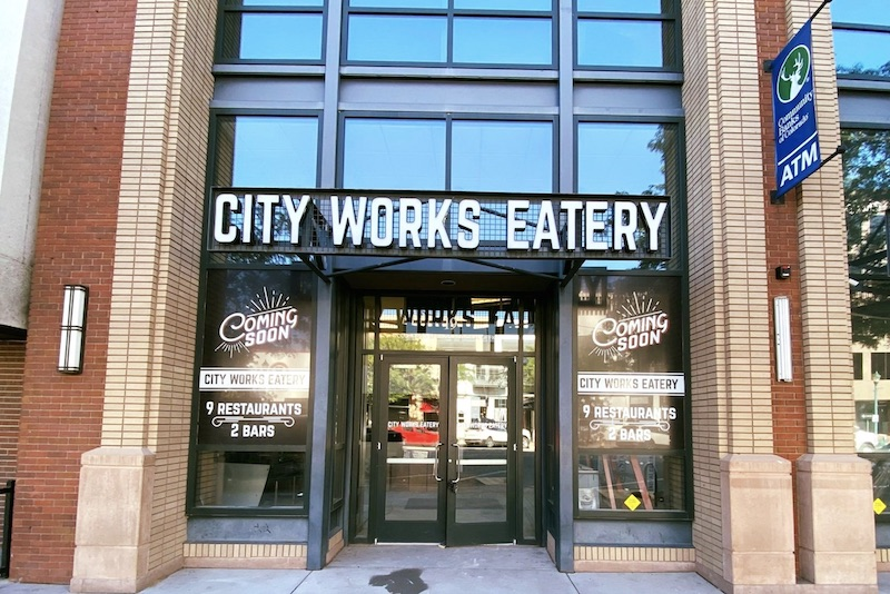 Entry of City Works Eatery, new food hall in Colorado Springs, grand opening 2021