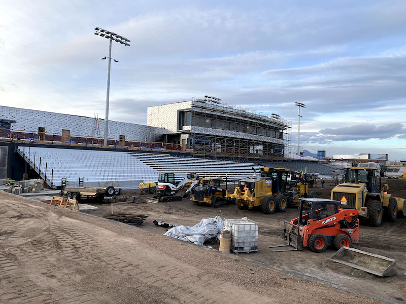 Construction in February on Switchbacks Weidner Field ahead of its grand opening in 2021