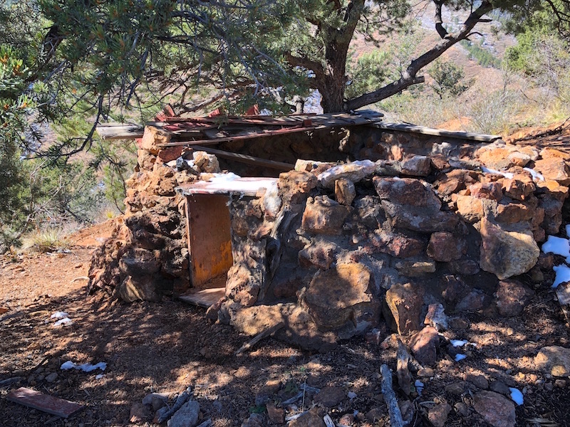 Remnants of a small stone building along the Ute Pass Trail