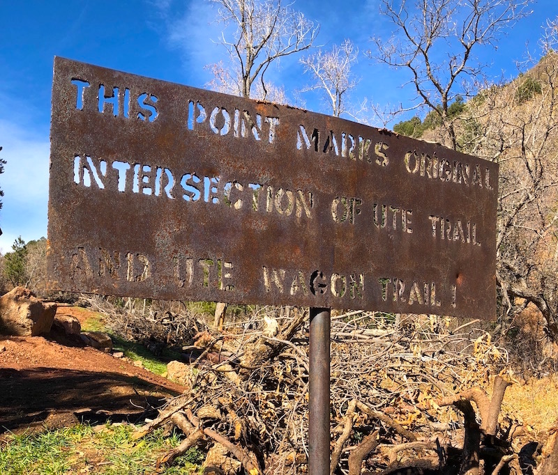Historic sign on the Ute Pass Trail