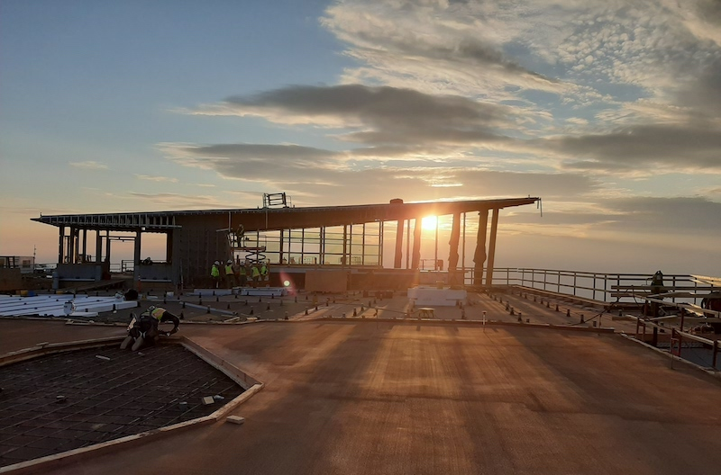 Sunrise over the new Pikes Peak Summit Complex, under construction, grand opening spring 2021