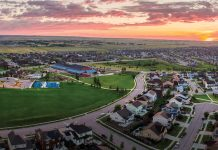 Banning Lewis Ranch aerial view at sunset, Colorado Springs