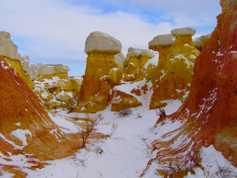 Snow on the trails at Paint Mines Interpretive Park