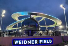 The Epicenter sculpture at Weidner Field in Colorado Springs