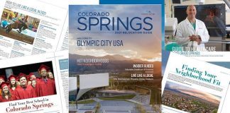 Cover and articles of Colorado Springs Relocation Guide