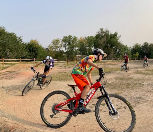 Cheyenne Mountain Cycling Club riders at the Goose Gossage pump track.