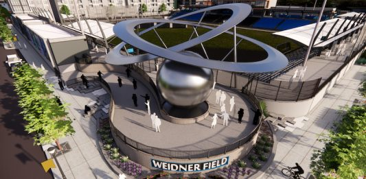 Rendering of the Weidner Field sculpture The Epicenter