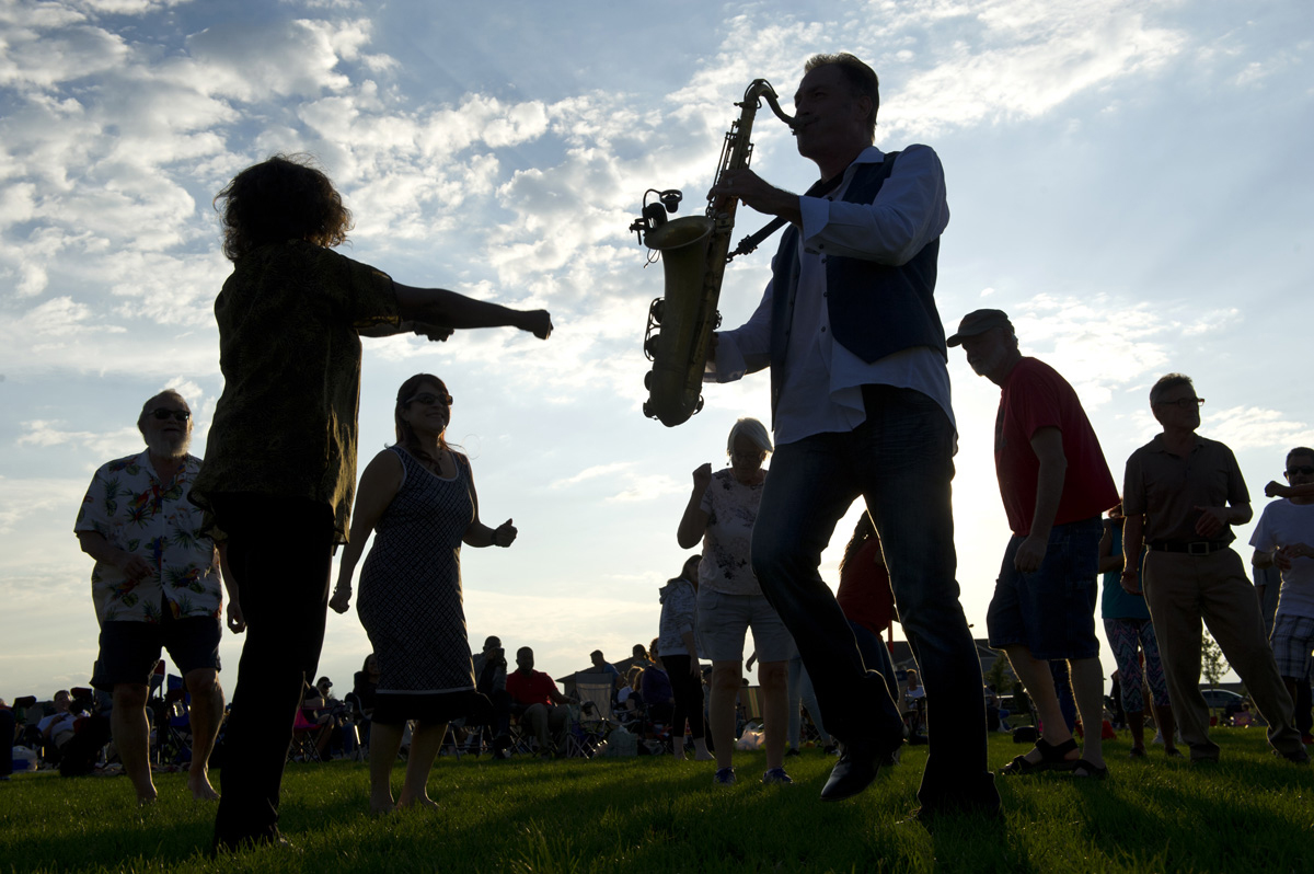 Dancers and sax player at Banning Lewis Ranch Summer Concerts