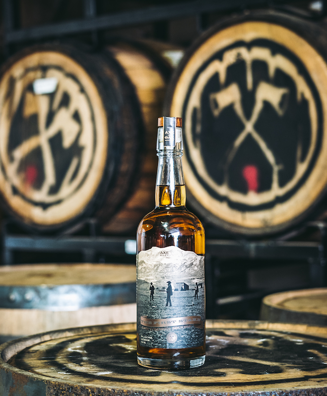 Bottle of The First Stake Bourbon, commemorative whiskey by Axe and the Oak for Colorado Springs Sesquicentennial