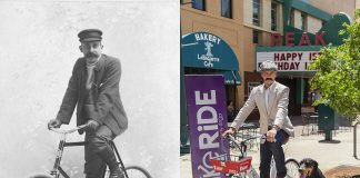 Historic and modern bicyclists, part of Colorado Springs Then and Now photo exhibit