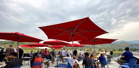 patio umbrellas and view at Red Leg Brewing Company