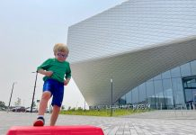 Kid runs during sport demonstration at US Olympic & Paralympic Museum, Colorado Springs