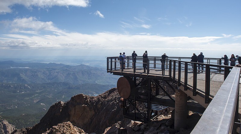 View over the edge from deck at Pikes Peak Visitor Center