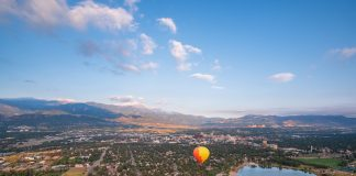 Hot air balloon over Colorado Springs and Pikes Peak