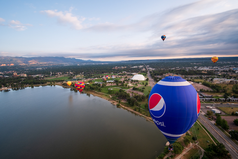 Balloons take a test flight before the Labor Day Lift Off in Colorado Springs