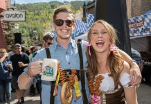 Couple in traditional Bavarian costumes at Vail Oktoberfest