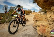 Crystal Anthony races on a Palmer Park trail in the Pikes Peak APEX mountain bike race