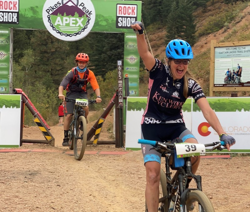 Christy Olson finishes the Captain Jack's trail in the Pikes Peak APEX 2020 mountain bike race