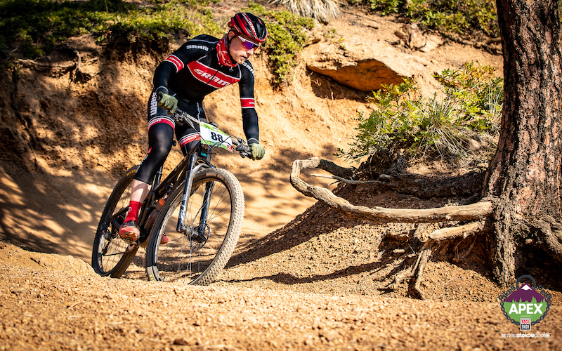Nathan Keck races on a trail in Cheyenne Canon during the Pikes Peak APEX 2020 mountain bike race