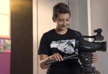 Student filming for the youth academy film festival